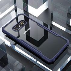 Custodia Silicone Trasparente Specchio Laterale Cover per Samsung Galaxy S10e Blu