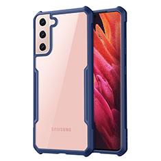 Custodia Silicone Trasparente Specchio Laterale Cover per Samsung Galaxy S21 5G Blu