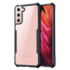 Custodia Silicone Trasparente Specchio Laterale Cover per Samsung Galaxy S21 5G Nero