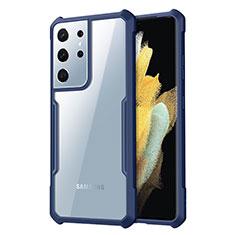 Custodia Silicone Trasparente Specchio Laterale Cover per Samsung Galaxy S21 Ultra 5G Blu