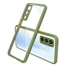 Custodia Silicone Trasparente Specchio Laterale Cover per Vivo Y70 (2020) Verde Militare