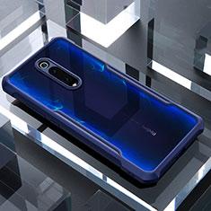 Custodia Silicone Trasparente Specchio Laterale Cover per Xiaomi Mi 9T Blu