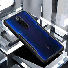 Custodia Silicone Trasparente Specchio Laterale Cover per Xiaomi Mi 9T Nero