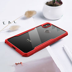 Custodia Silicone Trasparente Specchio Laterale Cover per Xiaomi Mi Mix 3 Rosso