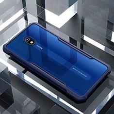 Custodia Silicone Trasparente Specchio Laterale Cover per Xiaomi Redmi 8A Blu