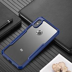 Custodia Silicone Trasparente Specchio Laterale Cover per Xiaomi Redmi Note 6 Pro Blu