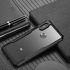 Custodia Silicone Trasparente Specchio Laterale Cover per Xiaomi Redmi Note 6 Pro Nero