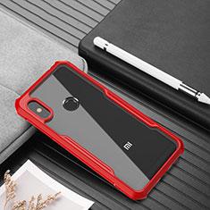 Custodia Silicone Trasparente Specchio Laterale Cover per Xiaomi Redmi Note 6 Pro Rosso