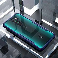 Custodia Silicone Trasparente Specchio Laterale Cover per Xiaomi Redmi Note 8 Pro Blu