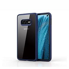 Custodia Silicone Trasparente Specchio Laterale Cover S01 per Samsung Galaxy S10e Blu