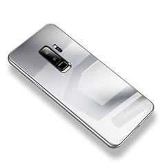 Custodia Silicone Trasparente Specchio Laterale Cover S01 per Samsung Galaxy S9 Plus Argento