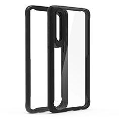 Custodia Silicone Trasparente Specchio Laterale Cover T02 per Huawei P30 Nero