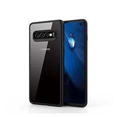 Custodia Silicone Trasparente Specchio Laterale Cover T02 per Samsung Galaxy S10 Nero