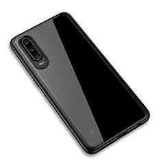 Custodia Silicone Trasparente Specchio Laterale Cover T03 per Huawei P30 Nero