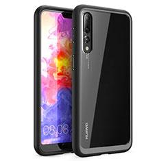 Custodia Silicone Trasparente Specchio Laterale Cover Z02 per Huawei P20 Pro Nero