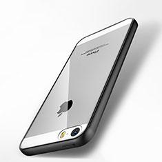 Custodia Silicone Trasparente Specchio Laterale per Apple iPhone 5 Nero