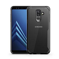 Custodia Silicone Trasparente Specchio Laterale per Samsung Galaxy A6 Plus (2018) Nero