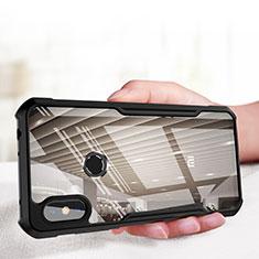 Custodia Silicone Trasparente Specchio Laterale per Xiaomi Redmi Note 6 Pro Nero
