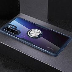 Custodia Silicone Trasparente Ultra Slim Cover Morbida con Anello Supporto C03 per Huawei P30 Pro Blu