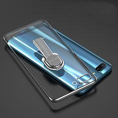 Custodia Silicone Trasparente Ultra Slim Cover Morbida con Anello Supporto per Huawei Honor 10 Grigio