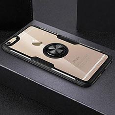 Custodia Silicone Trasparente Ultra Slim Cover Morbida con Anello Supporto S01 per Apple iPhone 6 Plus Nero