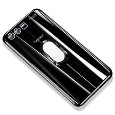 Custodia Silicone Trasparente Ultra Slim Cover Morbida con Anello Supporto S01 per Huawei Honor 9 Premium Nero