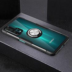 Custodia Silicone Trasparente Ultra Slim Cover Morbida con Magnetico Anello Supporto C01 per Huawei Honor 20 Pro Nero