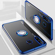 Custodia Silicone Trasparente Ultra Slim Cover Morbida con Magnetico Anello Supporto C01 per Huawei P30 Lite New Edition Blu