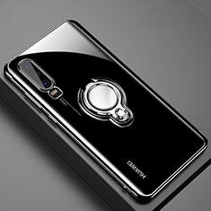 Custodia Silicone Trasparente Ultra Slim Cover Morbida con Magnetico Anello Supporto C01 per Huawei P30 Nero