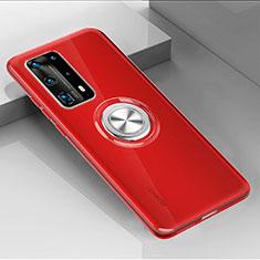 Custodia Silicone Trasparente Ultra Slim Cover Morbida con Magnetico Anello Supporto C01 per Huawei P40 Pro+ Plus Rosso