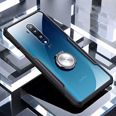 Custodia Silicone Trasparente Ultra Slim Cover Morbida con Magnetico Anello Supporto C01 per OnePlus 7T Pro Nero