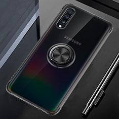 Custodia Silicone Trasparente Ultra Slim Cover Morbida con Magnetico Anello Supporto C01 per Samsung Galaxy A70 Nero