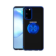 Custodia Silicone Trasparente Ultra Slim Cover Morbida con Magnetico Anello Supporto C01 per Samsung Galaxy S20 5G Blu