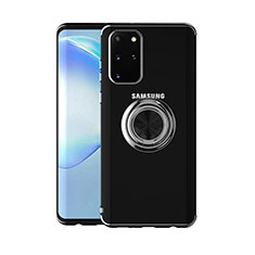 Custodia Silicone Trasparente Ultra Slim Cover Morbida con Magnetico Anello Supporto C01 per Samsung Galaxy S20 Plus Nero
