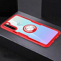 Custodia Silicone Trasparente Ultra Slim Cover Morbida con Magnetico Anello Supporto C01 per Xiaomi Redmi Note 8 Rosso