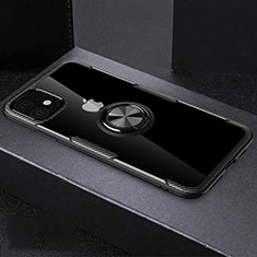 Custodia Silicone Trasparente Ultra Slim Cover Morbida con Magnetico Anello Supporto C02 per Apple iPhone 11 Nero