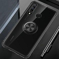 Custodia Silicone Trasparente Ultra Slim Cover Morbida con Magnetico Anello Supporto C02 per Huawei P30 Lite New Edition Nero