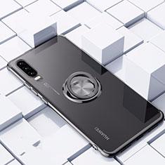 Custodia Silicone Trasparente Ultra Slim Cover Morbida con Magnetico Anello Supporto C02 per Huawei P30 Nero