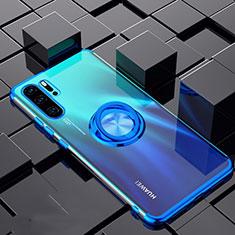 Custodia Silicone Trasparente Ultra Slim Cover Morbida con Magnetico Anello Supporto C02 per Huawei P30 Pro Blu