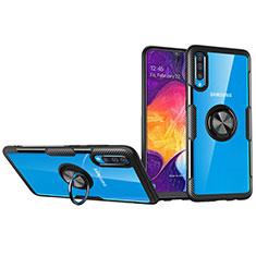 Custodia Silicone Trasparente Ultra Slim Cover Morbida con Magnetico Anello Supporto C02 per Samsung Galaxy A70 Nero