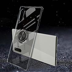 Custodia Silicone Trasparente Ultra Slim Cover Morbida con Magnetico Anello Supporto C02 per Samsung Galaxy Note 10 Plus 5G Nero