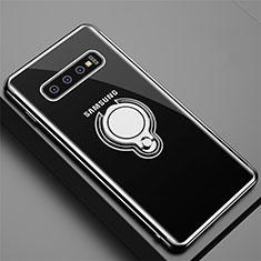 Custodia Silicone Trasparente Ultra Slim Cover Morbida con Magnetico Anello Supporto C02 per Samsung Galaxy S10 Nero