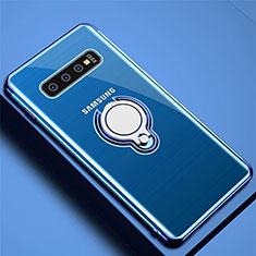 Custodia Silicone Trasparente Ultra Slim Cover Morbida con Magnetico Anello Supporto C02 per Samsung Galaxy S10 Plus Blu