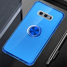 Custodia Silicone Trasparente Ultra Slim Cover Morbida con Magnetico Anello Supporto C02 per Samsung Galaxy S10e Blu