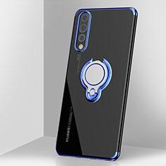 Custodia Silicone Trasparente Ultra Slim Cover Morbida con Magnetico Anello Supporto C03 per Huawei P20 Pro Blu