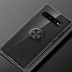 Custodia Silicone Trasparente Ultra Slim Cover Morbida con Magnetico Anello Supporto C03 per Samsung Galaxy S10 Plus Nero
