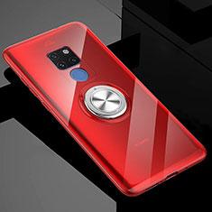 Custodia Silicone Trasparente Ultra Slim Cover Morbida con Magnetico Anello Supporto C04 per Huawei Mate 20 X 5G Rosso