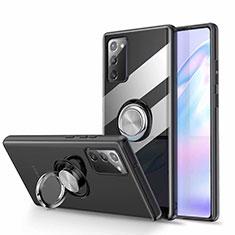 Custodia Silicone Trasparente Ultra Slim Cover Morbida con Magnetico Anello Supporto N02 per Samsung Galaxy Note 20 5G Nero