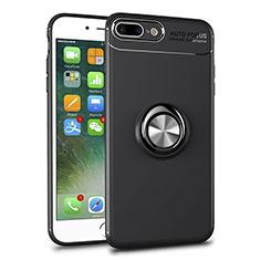 Custodia Silicone Trasparente Ultra Slim Cover Morbida con Magnetico Anello Supporto S01 per Apple iPhone 7 Plus Nero