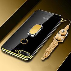 Custodia Silicone Trasparente Ultra Slim Cover Morbida con Magnetico Anello Supporto S01 per Huawei Honor 7A Oro